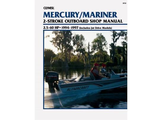 mercury mariner outboard shop manual 2 5 60 hp 1994 1997 clymer b723 rh leisurekraft com clymer outboard motor repair manuals Clymer Reamer Specs