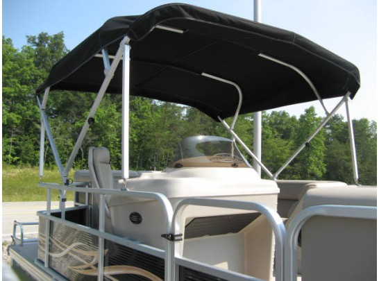 Custom-made Pontoon Boat Bimini Cover with Stern Light and Boot