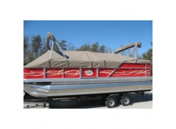 Custom-made Pontoon Boat Playpen Cover with Support System