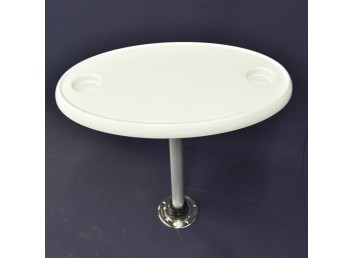 Oval Table with Post and Hardware