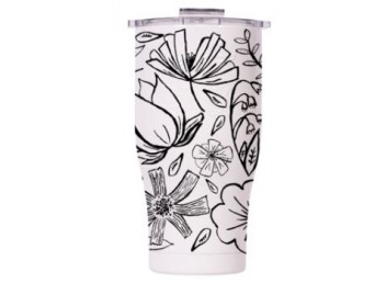 Orca 27oz Chaser -Floral Sketch Pearl/Clear